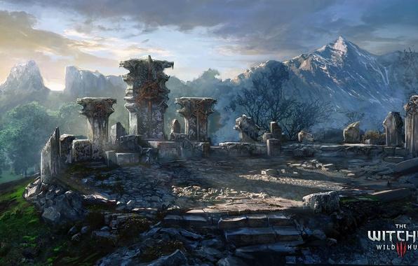 Обои горы, арт, памятник, ведьмак, The Witcher 3: Wild Hunt