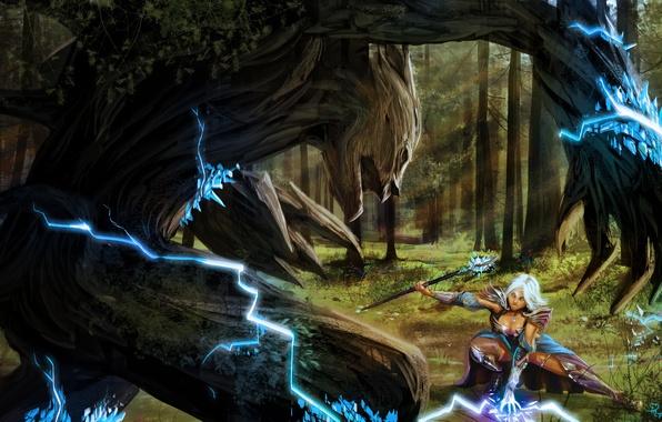 Картинка лес, девушка, молния, монстр, арт, маг, кристаллы, посох, битва, волшебница