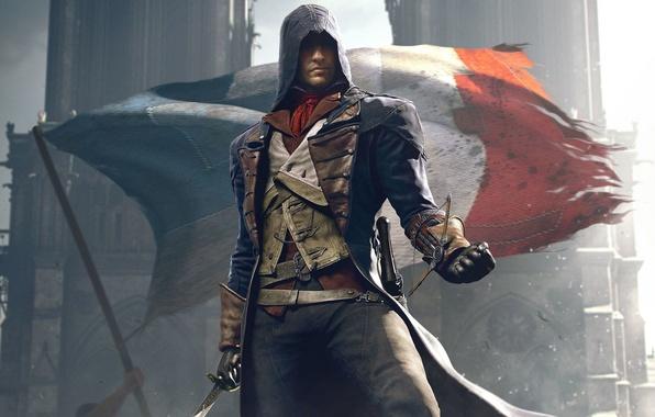 Картинка Взгляд, Собор, Свет, Флаг, Оружие, Капюшон, Ubisoft, Assassin's Creed, Ubisoft Montreal, Экипировка, Arno, Арно, Assassin's …