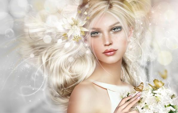 Картинка девушка, цветы, бабочка, портрет, блондинка