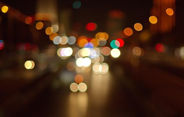Картинка дорога, свет, машины, ночь, город, огни, разноцветные, боке
