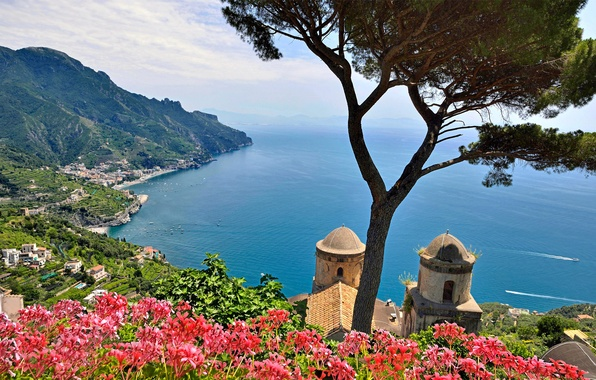 Картинка море, небо, деревья, цветы, горы, Италия, Салерно, Равелло