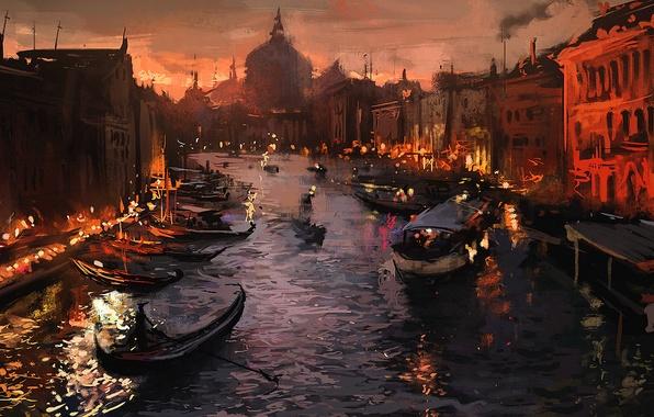 Картинка город, огни, река, лодка, вечер, венеция, art, Venice