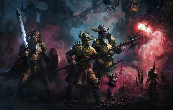Картинка оружие, меч, войны, арт, клетки, черепа, посох, исследование, поход, жуть, алебарда