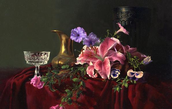 Картинка цветы, стол, лилии, бокал, картина, хрусталь, ткань, ваза, кувшин, натюрморт, Алексей Антонов, незабудки
