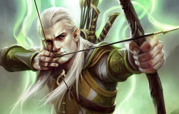 Картинка эльф, лук, властелин колец, арт, lord of the rings, леголас, Guardians of Middle-earth