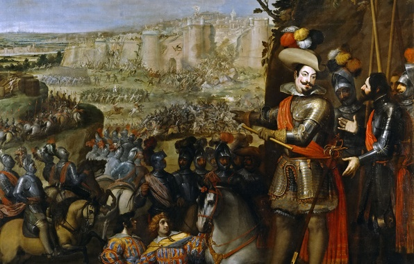 Картинка картина, армия, крепость, осада, батальный жанр, Захват Рейнфельдена, Винченцо Кардуччи
