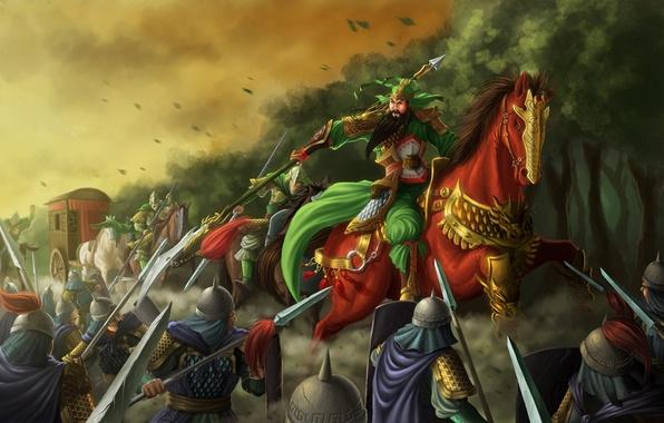 Картинка лес, оружие, конь, лошадь, азия, воин, арт, самурай, нападение, повозка, всадник, копье, битва