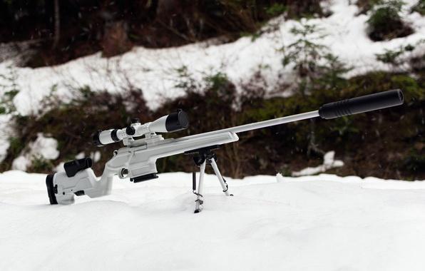 Картинка зима, белый, снег, оружие, оптика, винтовка, снайперская, Мосина