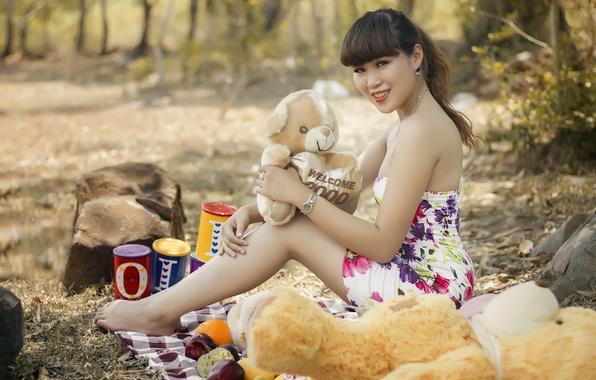 Картинка лето, девушка, игрушки, азиатка