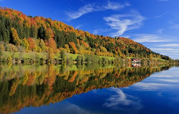 Картинка осень, лес, небо, листья, облака, деревья, озеро, отражение, Германия, Бавария, синее, разноцветные