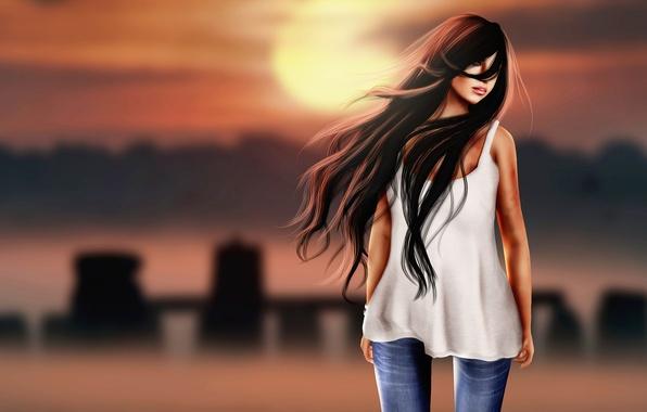 Картинка девушка, лицо, рендеринг, фон, ветер, волосы, брюнетка, губы