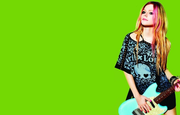 Картинка зеленый, музыка, фон, модель, одежда, гитара, актриса, фотограф, певица, Avril Lavigne, Аврил Лавин, бренд, Lotto, ...