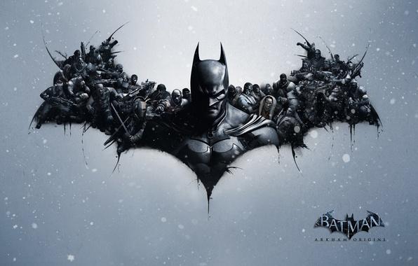 Картинка снег, броня, плащ, враги, Пингвин, Брюс Вейн, Bruce Wayne, Deadshot, Deathstroke the Terminator, злодеи, Дезстроук …
