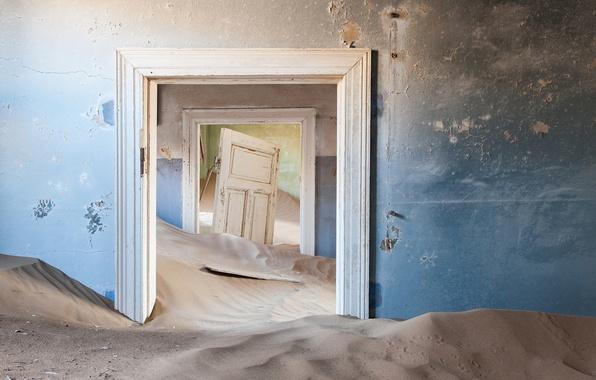 Картинка песок, стены, двери, дюны, комнаты