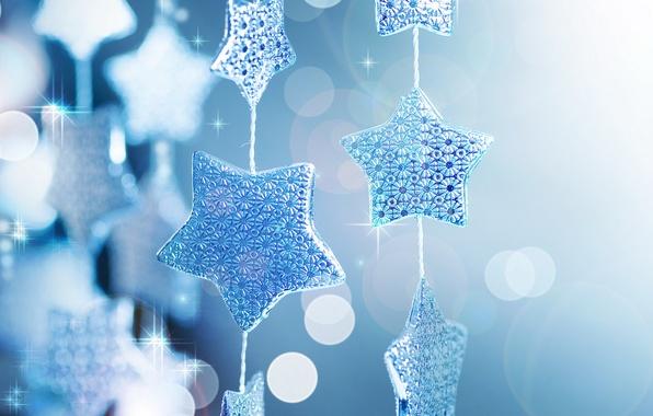 Картинка звезды, макро, блики, праздник, блеск, новый год, блестки, new year, гирлянда, голубой фон