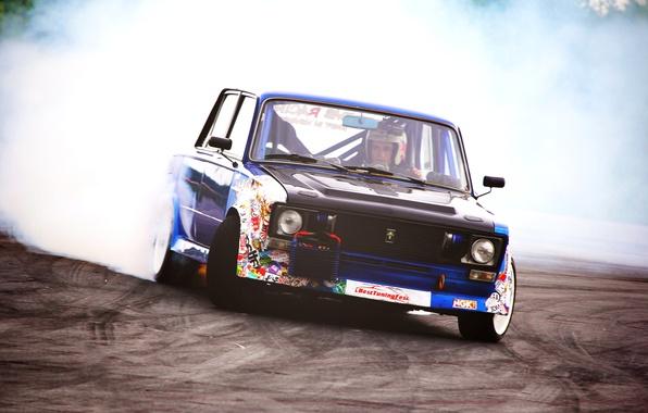 Картинка соревнования, дым, Drift, VAZ, ВАЗ 2106