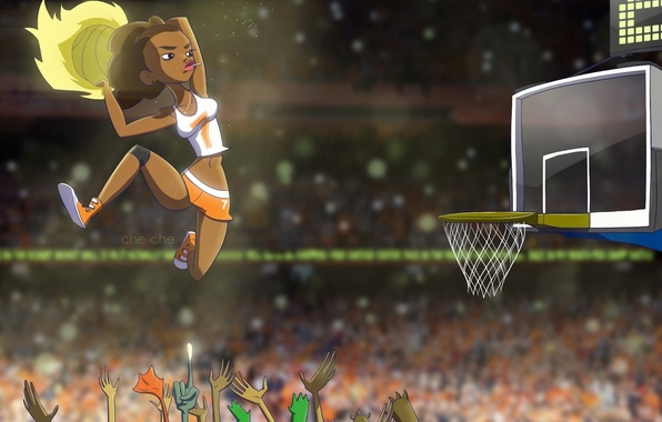 Картинка девушка, прыжок, корзина, мяч, руки, арт, баскетбол, che-che