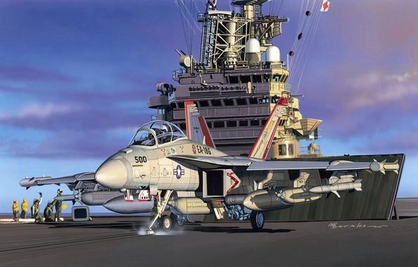 Картинка самолет, арт, художник, Boeing, США, Боинг, Супер, Growler, ВМС, палубный, Хорнет, разработан, базе, борьбы, фирмой, …
