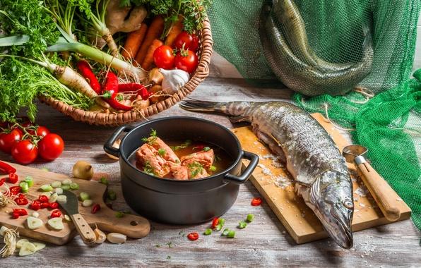 Картинка рыба, овощи, уха, щука, первое блюдо