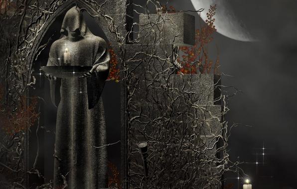 Картинка смерть, рендеринг, узоры, камень, свечи, Луна, фигура, фэнтези, капюшон, Moon, fantasy, death, rendering, жрец, Dark …