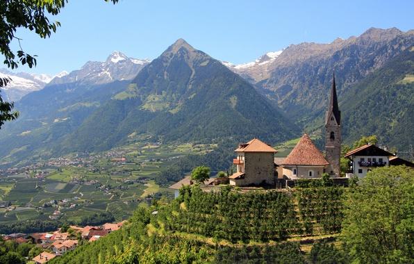 Картинка горы, долина, Италия, церковь, панорама, Italy, Мерано, Больцано, Южный Тироль, Merano, South Tyrol