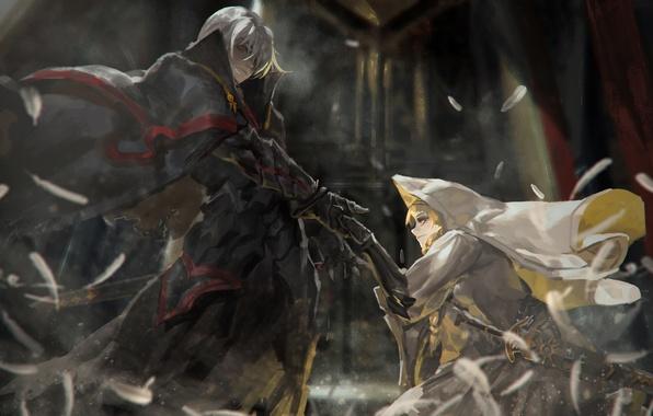 Картинка девушка, оружие, меч, аниме, арт, капюшон, парень, alcd
