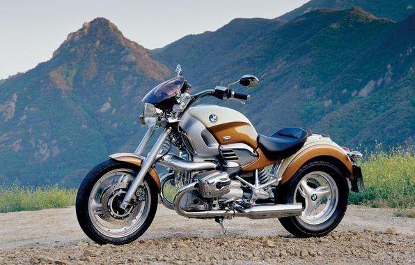 Картинка горы, фон, мотоцикл