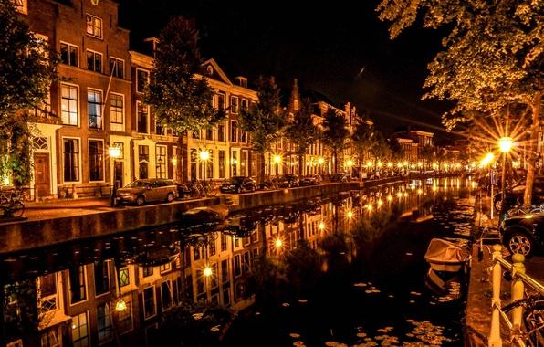 Картинка car, вода, свет, ночь, отражение, лампы, light, автомобиль, water, night, reflection, lamp