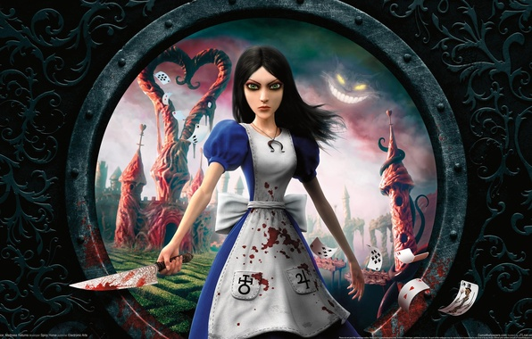 Картинка карты, кровь, Алиса, нож, Alice Madness Returns
