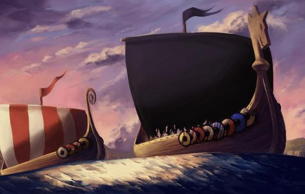 Картинка море, полосы, ветер, берег, корабли, арт, щиты, плавание, викинги, паруники