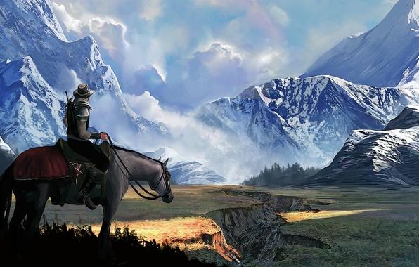 Картинка пейзаж, горы, конь, арт, наездник, мужчина