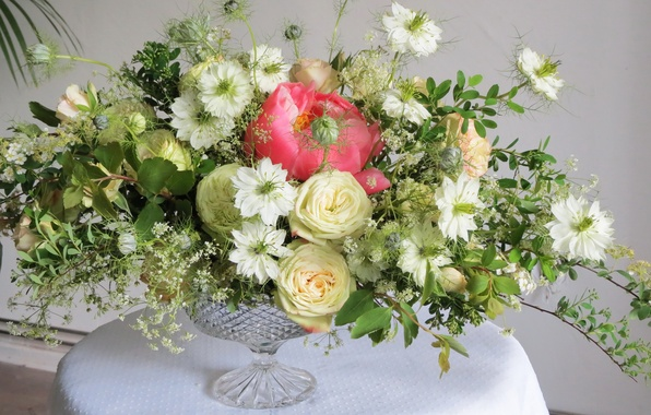 Картинка фото, Цветы, Ваза, Розы, нигелла, Букеты, Пионы спирея