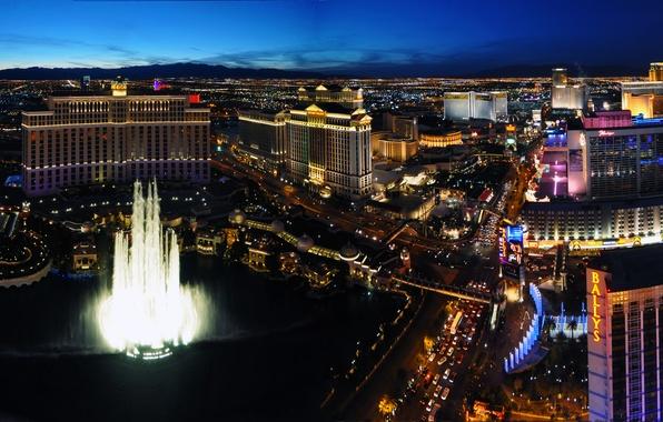 Картинка Небо, Вечер, Фото, Огни, Ночь, Город, Лас-Вегас, Движение, Машины, Здания, Фонтан, USA, США, Las Vegas
