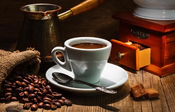 Фото обои блюдце, чашка, зерна, напиток, кофе, ложка
