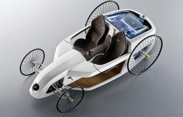 Картинка машина, авто, concept, белая, родстер, мерседес, benz, roadster, mersedes, бенз, f-cell