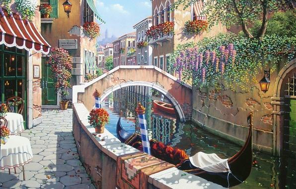 Картинка лето, цветы, Италия, Венеция, канал, Сан-Марко, живопись, Italy, гондола, painting, Venice, Bob Pejman, район Венеции, …
