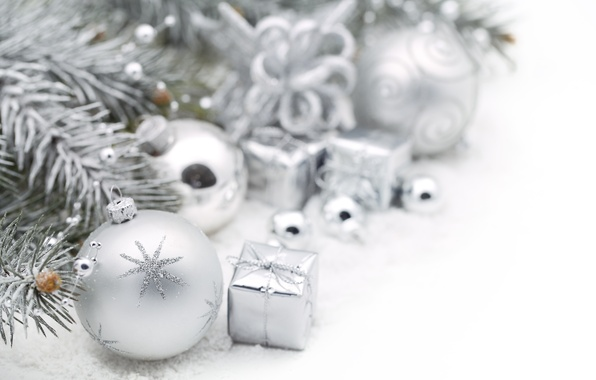 Картинка зима, шарики, снег, игрушки, ель, ветка, Новый Год, Рождество, декорации, белые, Christmas, праздники, New Year, …