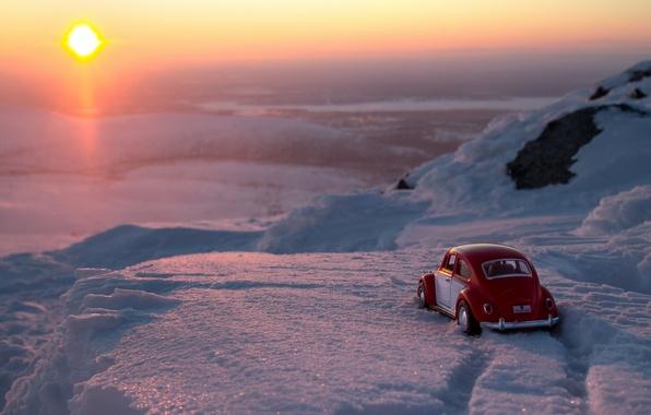 Картинка машина, макро, снег, игрушка