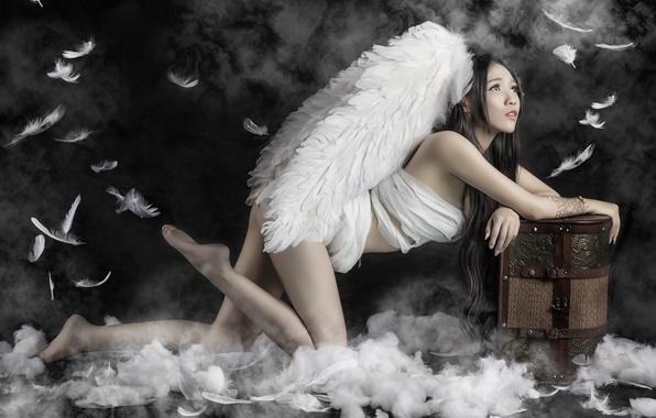Картинка поза, крылья, перья, азиатка, сундук