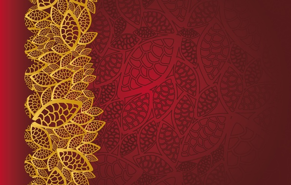 Обои Floral Pattern Golden Red Texture Vintage фон