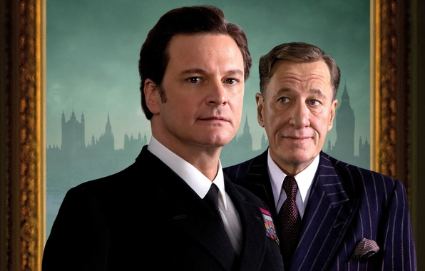 Картинка фильм, актёры, Geoffrey Rush, Колин Ферт, The King's Speech, Джеффри Раш, Король говорит, Colin Firth