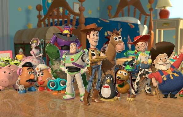 Картинка лошадь, динозавр, собака, копилка, свинья, ковбой, инопланетяне, пружина, история игрушек, toy story 2, рекс, картофельная …