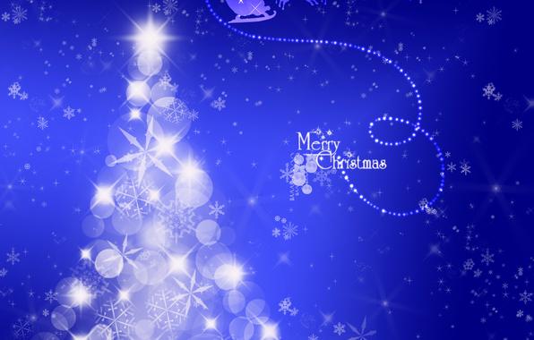 Картинка зима, снег, фон, праздник, волшебство, блеск, абстракт, Новый Год, Рождество, Елка, Олени, Дед Мороз, чудо, …