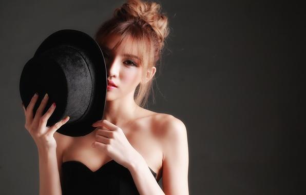 Картинка взгляд, лицо, стиль, фон, шляпа, азиатка