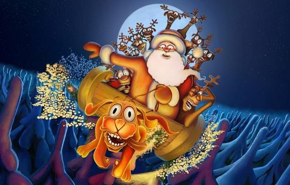 Фото обои дед мороз, рождество, новый год, олень