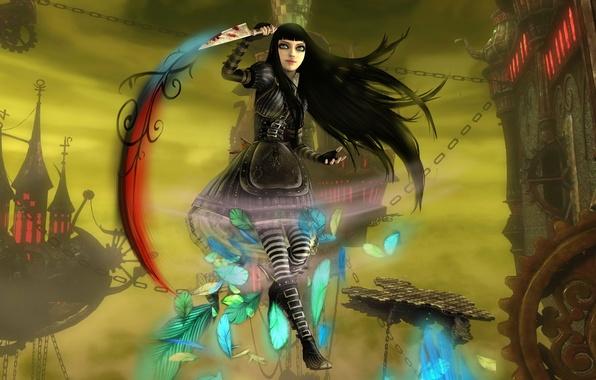 Картинка оружие, замок, кровь, перья, арт, Алиса, нож, цепи, Alice Madness Returns, phoenix-zhuzh