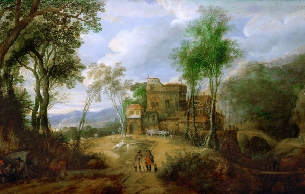 Картинка деревья, пейзаж, горы, мост, люди, дома, картина, Mountain Landscape with Castle, Peeter Snayers