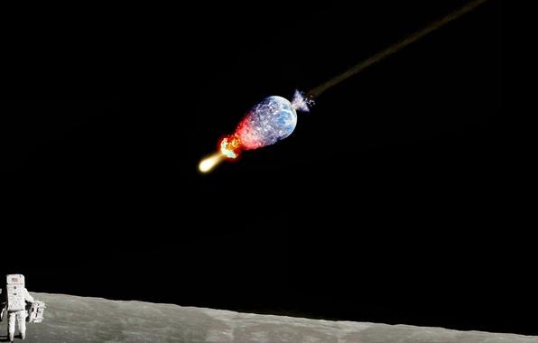 Картинка земля, луна, метеор, космонавт, капут, пипец