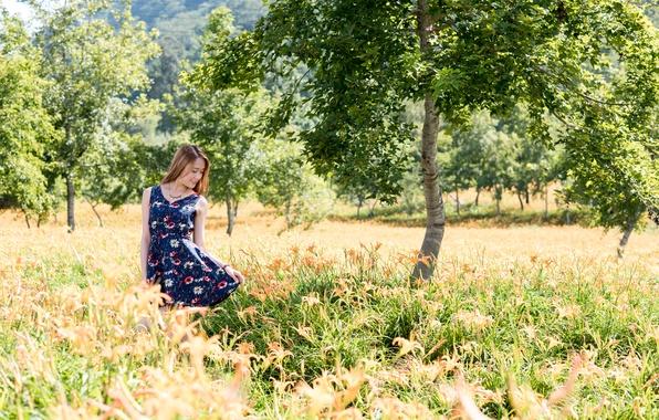 Картинка лето, природа, лицо, фон, волосы, платье, прогулка
